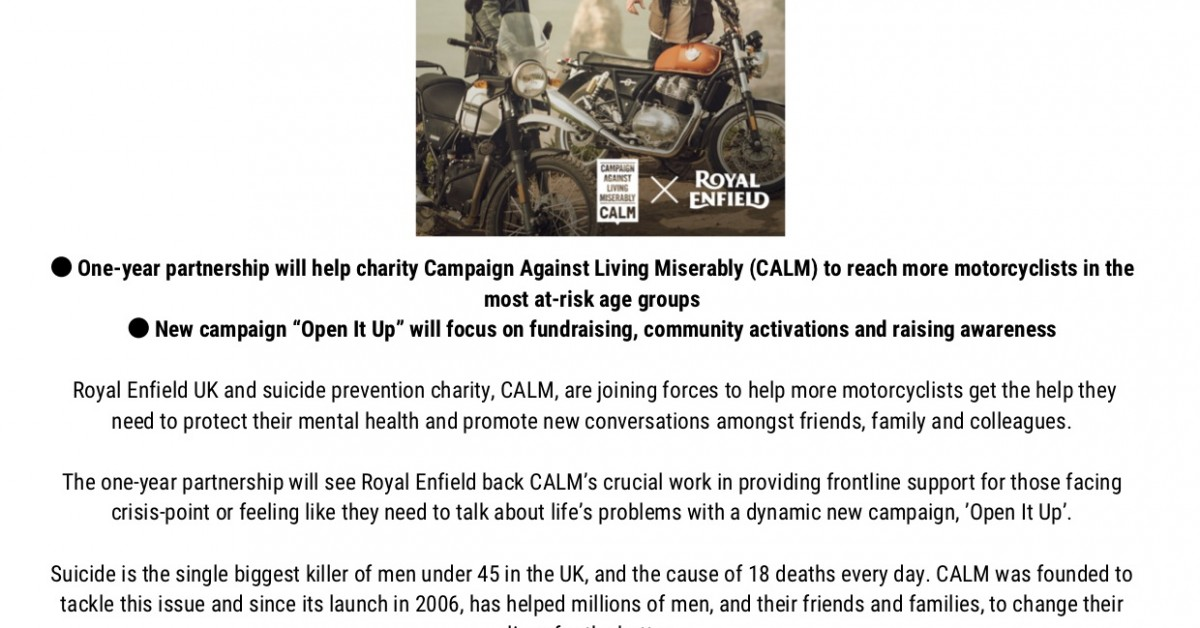 Royal Enfield an CALM Charity