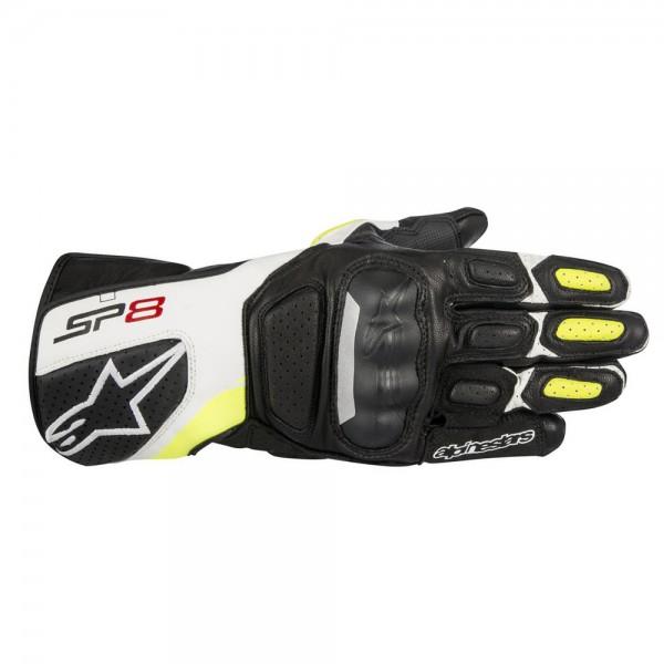 Alpinestars SP-8 v2 Gloves Black White & Yellow Fluo