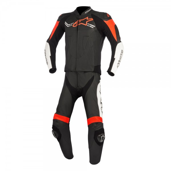 Alpinestars Challenger V2 2 Piece Suit - Black/White/Red/Fluo