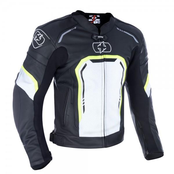 Oxford Strada Men's Leather Sports Jacket Black White Fluo