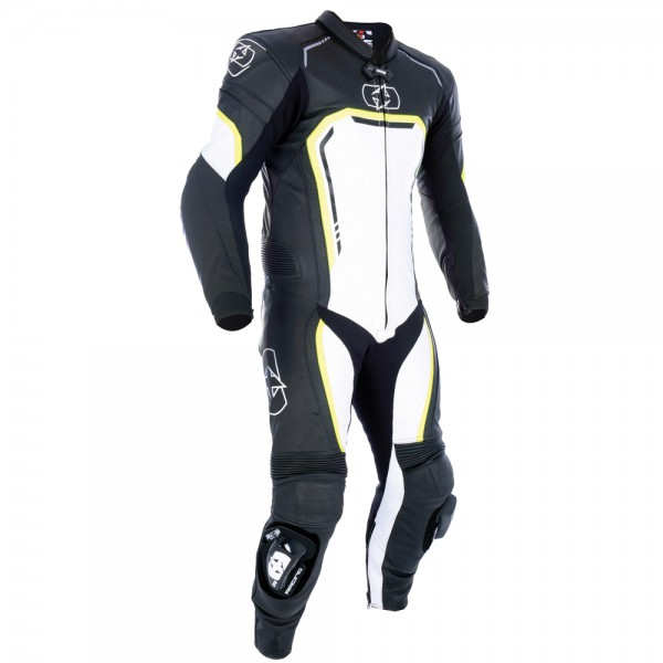 Oxford Stradale Men's 1 Piece Leather Suit Black White Fluo