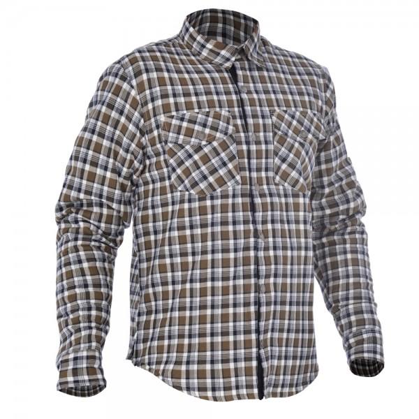 Oxford Kickback shirt Khaki & White