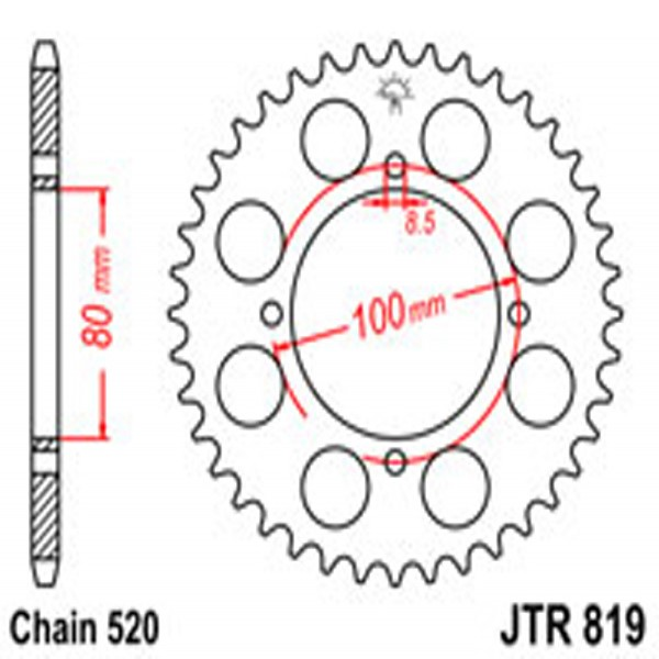 Jt Rear Sprockets R/w 819/2-41T 8 & 10Mm F.h. Suz