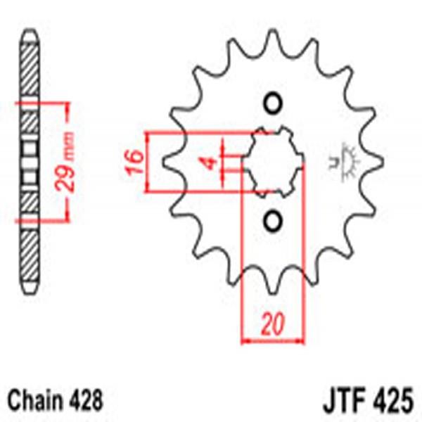 Jt Gear BOX Sprockets G/b 425/416-16T Suz