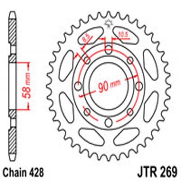 Jt Rear Sprockets R/w 269-44T Hon +