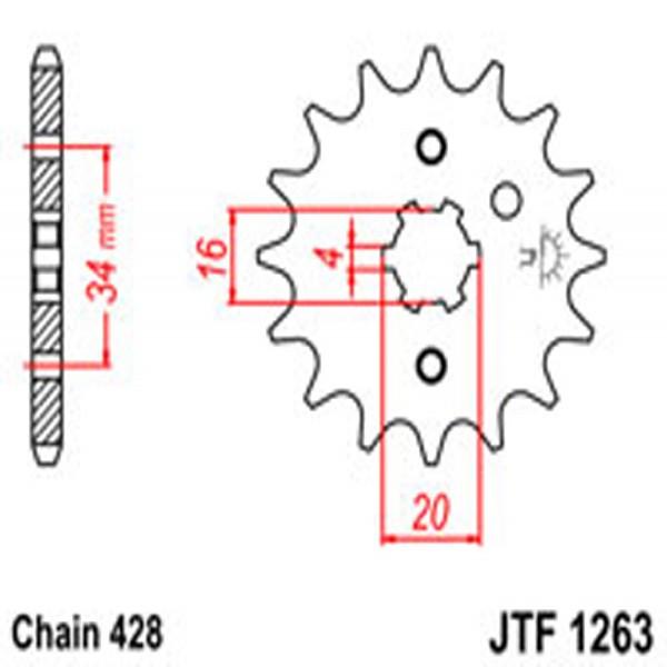 Jt Gear BOX Sprockets G/b 1263/263-15T Yam