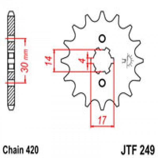 Jt Gear BOX Sprockets G/b 249/504 14T Kaw