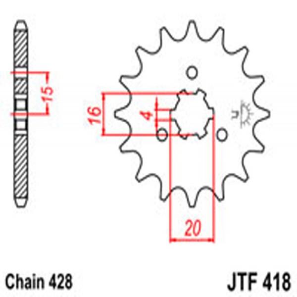 Jt Gear BOX Sprockets G/b 418-14T Kaw