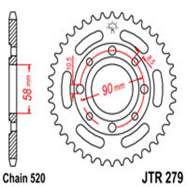 Jt Rear Sprockets R/w 279-39T Hon