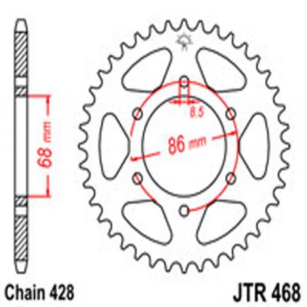 Jt Rear Sprockets R/w 468-36T Kaw