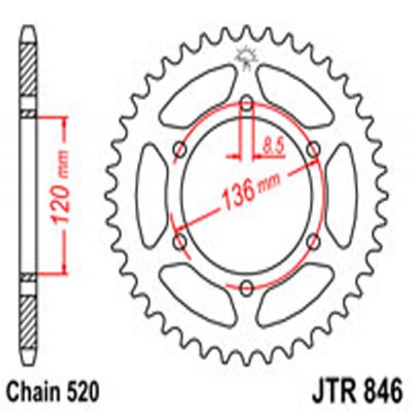 Jt Rear Sprockets R/w 846-39T Yam (859)