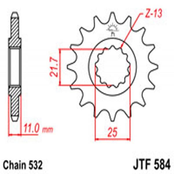 Jt Gear BOX Sprockets G/b 584-16T Yam (442)