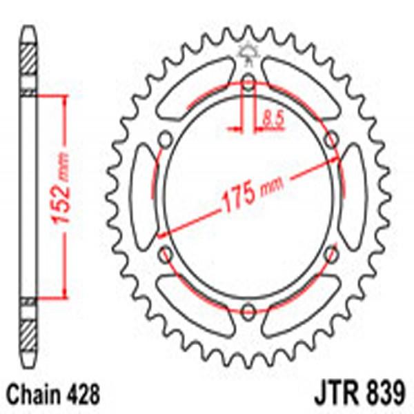 Jt Rear Sprockets R/w 839-55T Yam (844)
