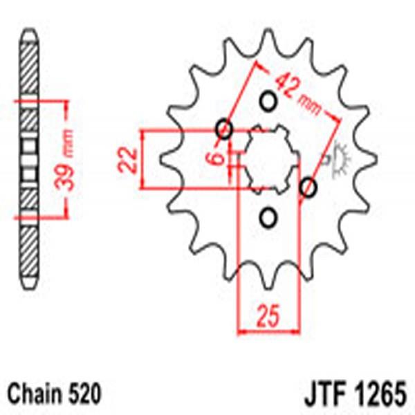 Jt Gear BOX Sprockets G/b 1265/265-14T Hon Dual Combination