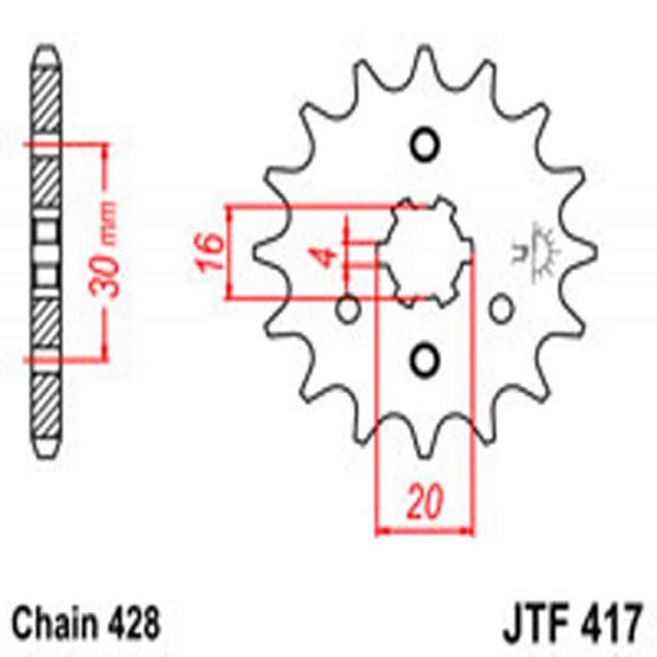 Jt Gear BOX Sprockets G/b 417-16T Kaw