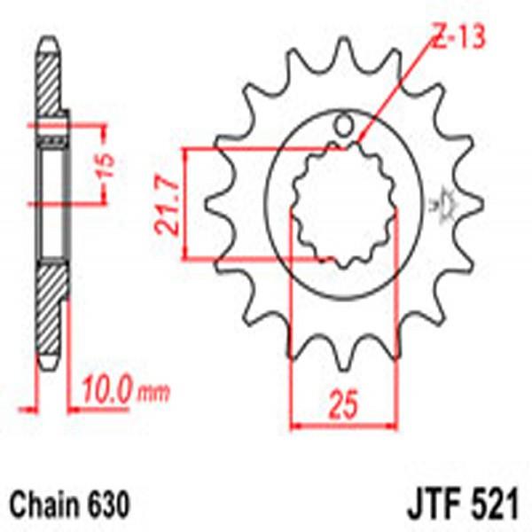 Jt Gear BOX Sprockets G/b 521-15T Kaw