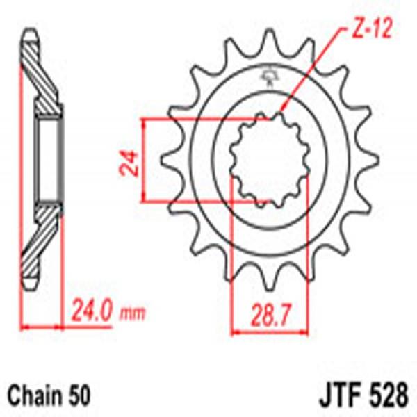 Jt Gear BOX Sprockets G/b 528/530-17T Kaw