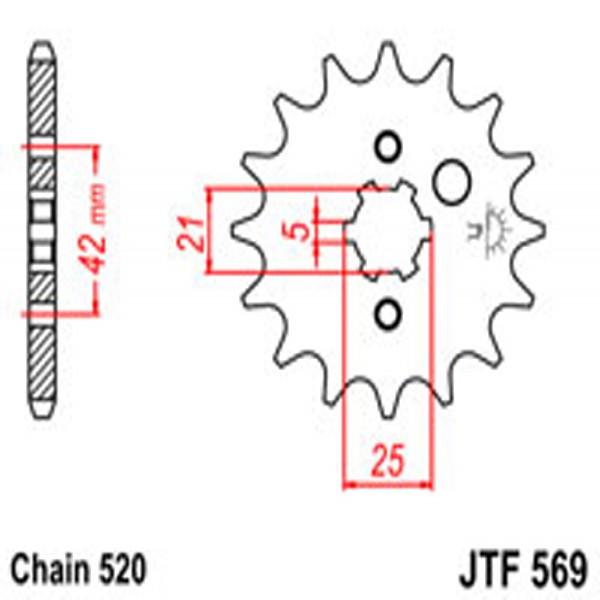 Jt Gear BOX Sprockets G/b 569/572-15T Yam (1383)
