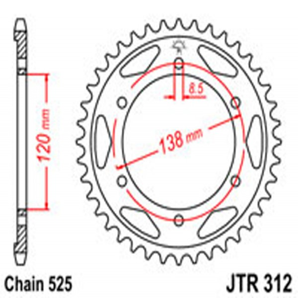 Jt Rear Sprockets R/w 312-40T Hon (253)
