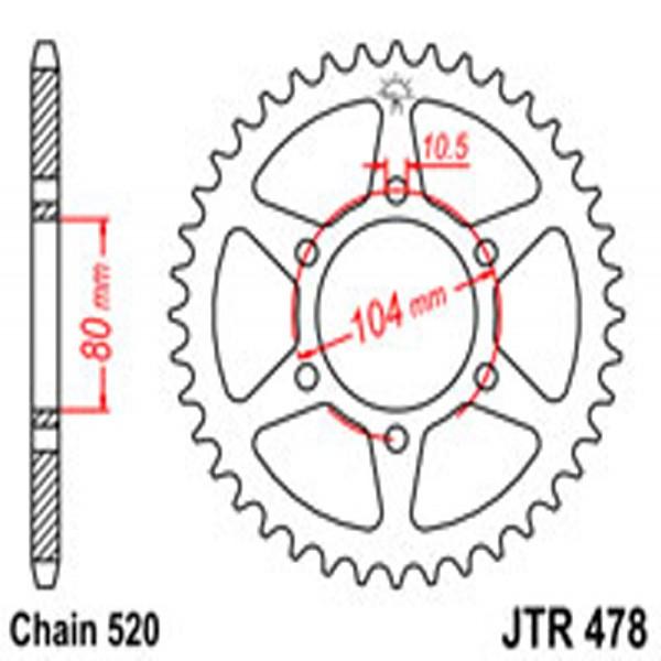 Jt Rear Sprockets R/w 478-45T Kaw