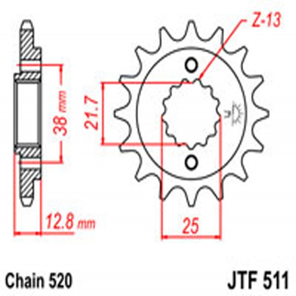 Jt Gear BOX Sprockets G/b 511-15T Kaw