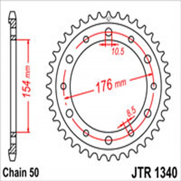 Jt Rear Sprockets R/w 1340/343/258-43T Hon Dual Combination