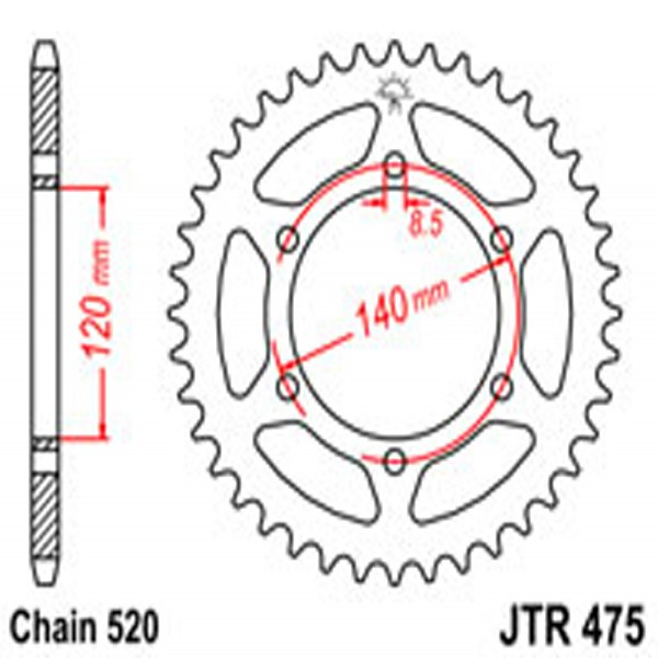 Jt Rear Sprockets R/w 475-42T Kaw