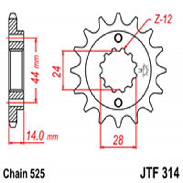 Jt Gear BOX Sprockets G/b 314-16T Hon (348)
