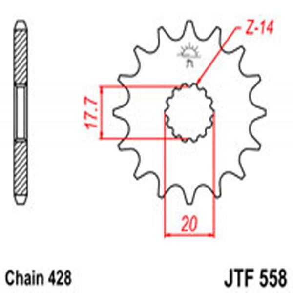 Jt Gear BOX Sprockets G/b 558-16T Yam (577)