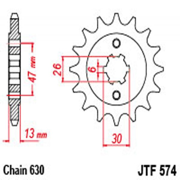 Jt Gear BOX Sprockets G/b 574-16T Yam