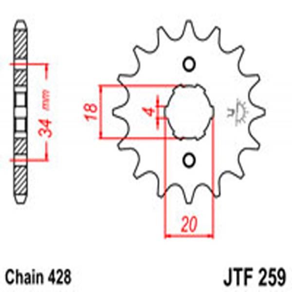 Jt Gear BOX Sprockets G/b 259-16T Hon