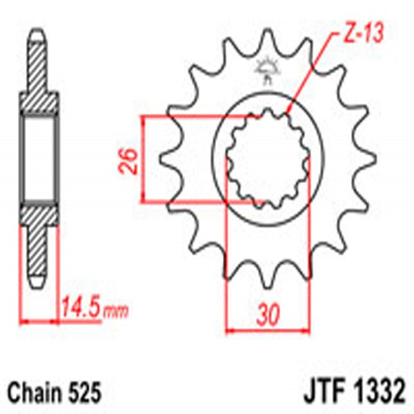 Jt Gear BOX Sprockets G/b 1332-15T Hon (2047)