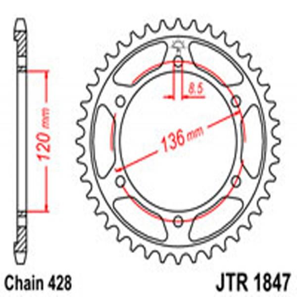 Jt Rear Sprockets R/w 1847-55 Yam (4324)