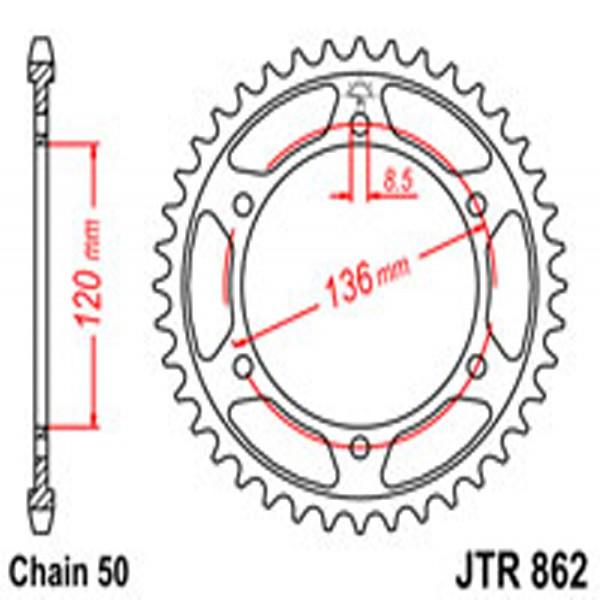 Jt Rear Sprockets R/w 862-44 Yam (864)