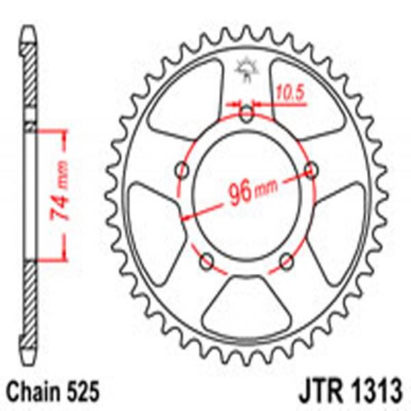 Jt Rear Sprockets R/w 1313-42T Hon