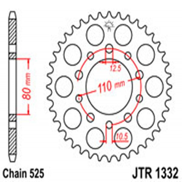 Jt Rear Sprockets R/w 1332/332/344-45T Hon Dual Combination (4350)