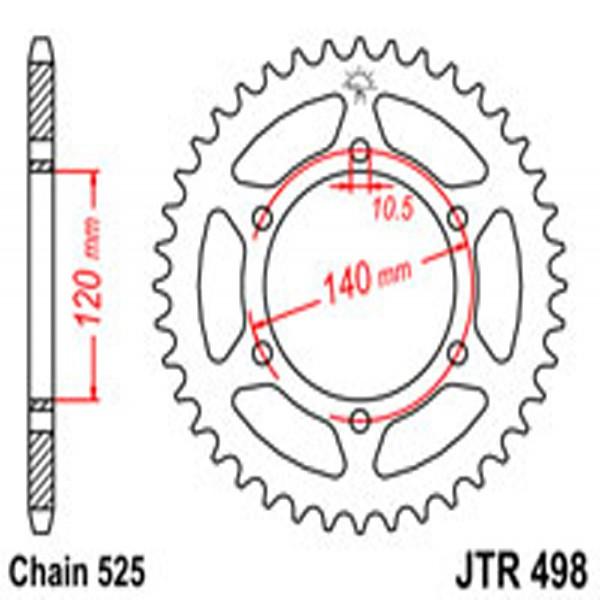 Jt Rear Sprockets R/w 498-40T Kaw [5301]