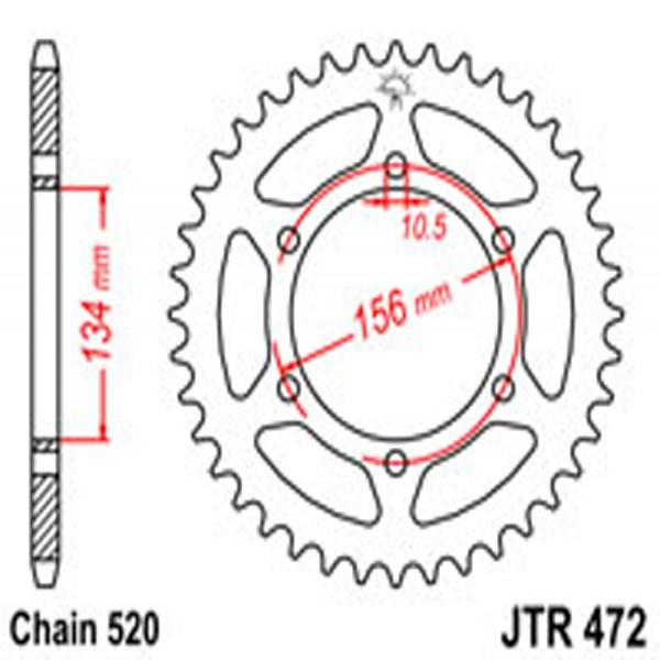 Jt Rear Sprockets R/w 472-40T Kaw (508)