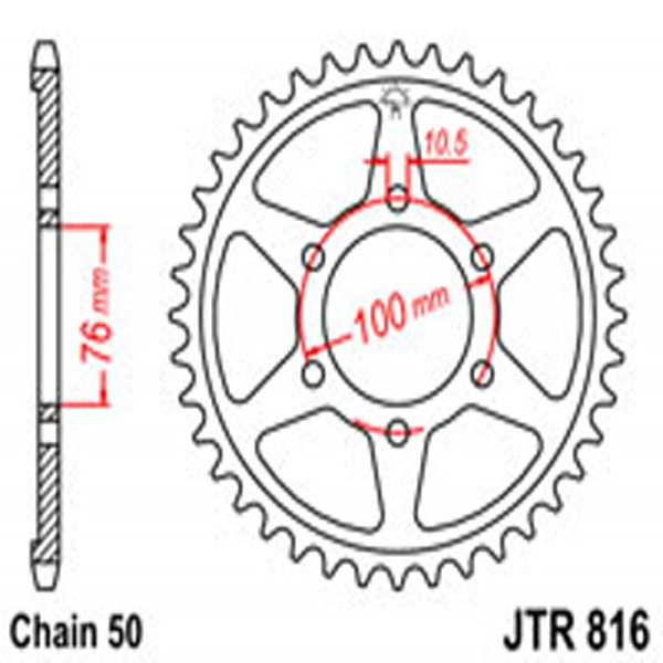 Jt Rear Sprockets R/w 816-45T (816/825)