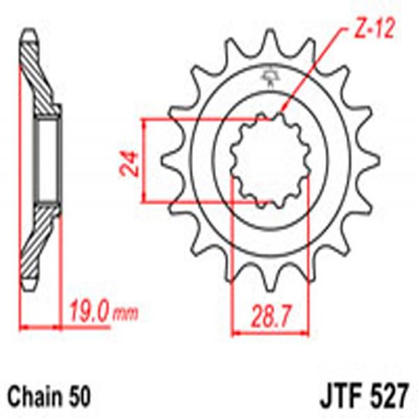 Jt Gear BOX Sprockets G/b 527-17T Kaw (532)