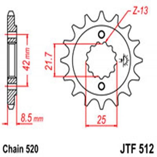 Jt Gear BOX Sprockets G/b 512-17 Kaw (525)