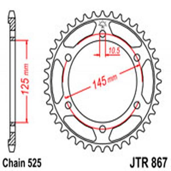 Jt Rear Sprockets R/w 867-42 Yam (0869)