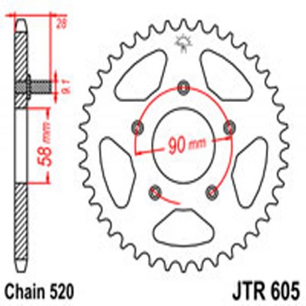 Jt Rear Sprockets R/w 605-36 Hon (0281)