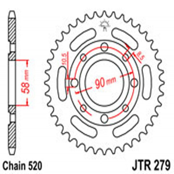 Jt Rear Sprockets R/w 279-41 Hon