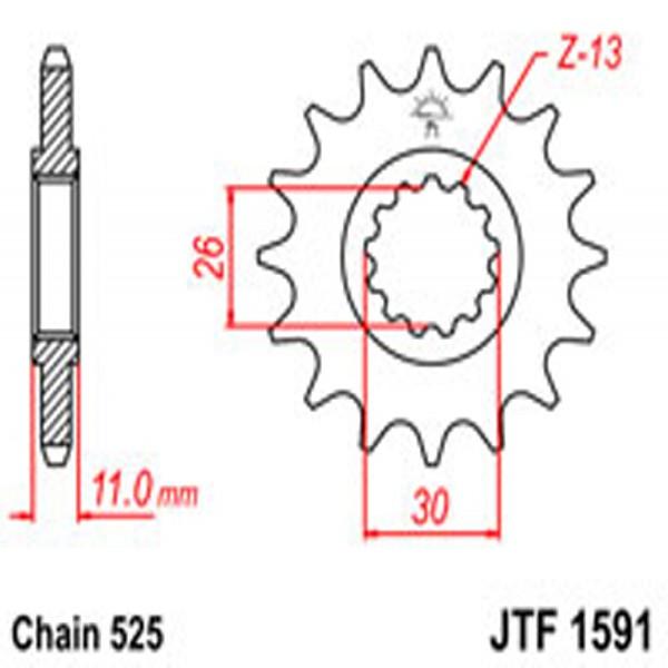 Jt Gear BOX Sprockets G/b 1591-16 (2091)