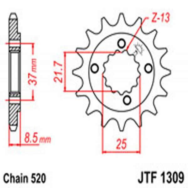 Jt Gear BOX Sprockets G/b 1309/309-15 (350)