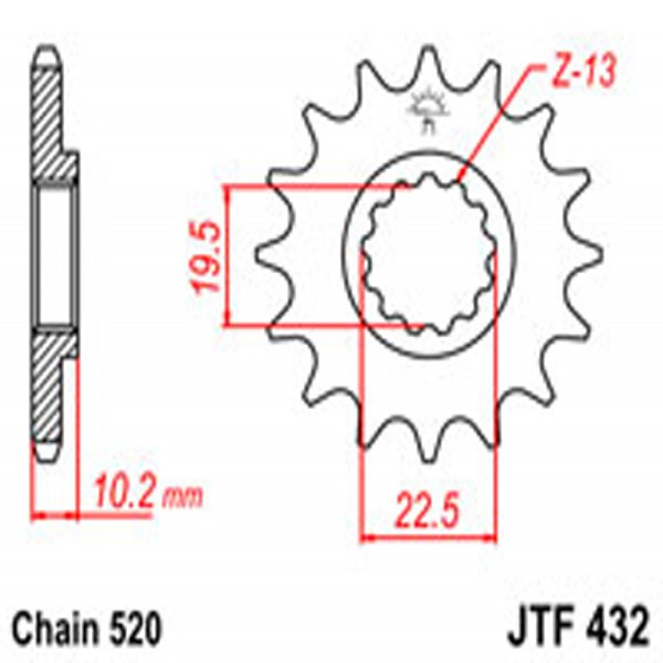 Jt Gear BOX Sprockets G/b 432-13Sc (435)