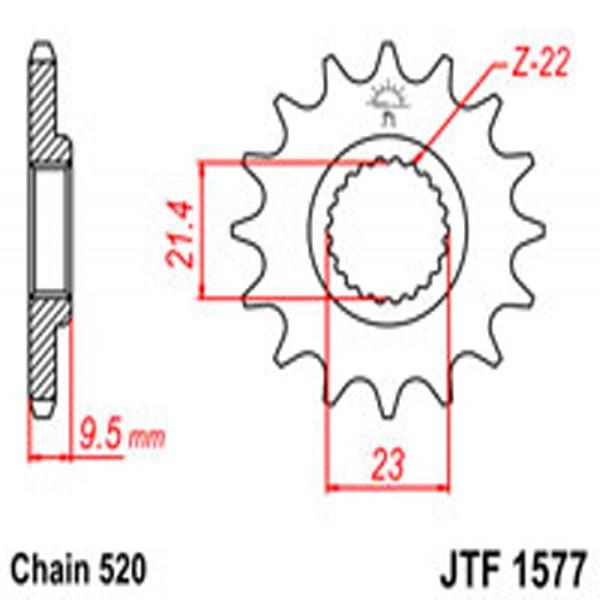 Jt Gear BOX Sprockets G/b 1577-15 (441)