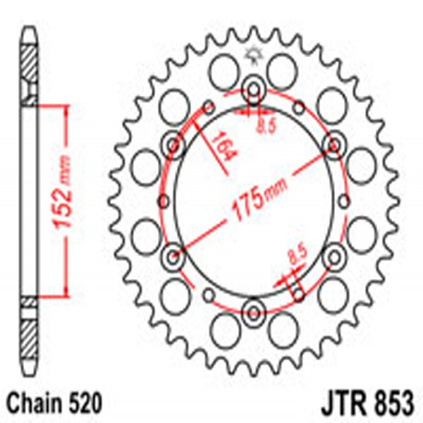 Jt Rear Sprockets R/w 853-44 (856)
