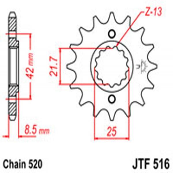 Jt Gear BOX Sprockets G/b 516-16